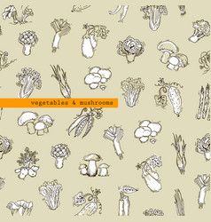 seamless pattern - vegetables and mushrooms vector image