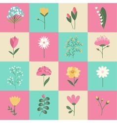 Set of pastel colors flowers concept vector