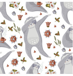 Sloth seamless pattern vector