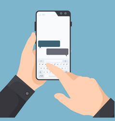 Smartphone in hands man holding telephone vector
