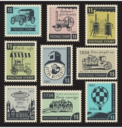 stamps on the retro mechanics vector image