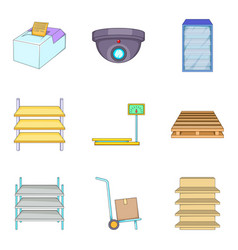 Station icons set cartoon style vector