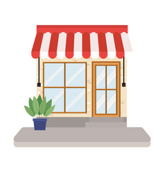 Store with tent and plant inside pot design vector
