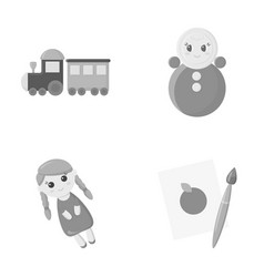 Trainkukla picturetoys set collection icons in vector