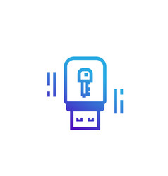 usb stick security key icon vector image