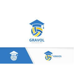 volleyball and graduate hat logo vector image