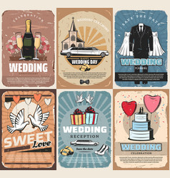 Wedding and marriage ceremony service vector