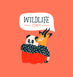Wildlife day card of animal friends hugging vector