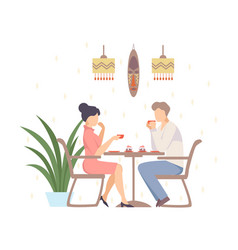 woman and a man are drinking coffee in a cafe vector image