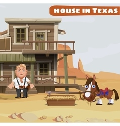 wooden two-storey house a cowboy in texas vector image