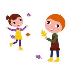 autumn kids vector image vector image
