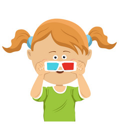 cute little girl with 3d glasses vector image vector image