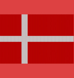 flag of denmark on a knitted woolen texture vector image vector image