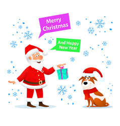 merry christmas card santa claus with gift and dog vector image vector image