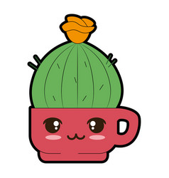 pot with desert plant kawaii character vector image