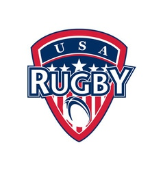 rugby ball shield usa flag stars and stripes vector image vector image
