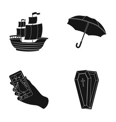 sailboat umbrella and other web icon in black vector image vector image