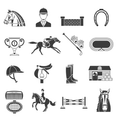 Black Icons Set With Horse Equipment vector image vector image