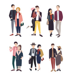 colorful flat set with stylish young vector image