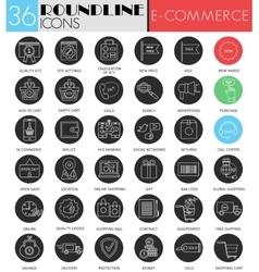 e-commerce circle white black icon set vector image
