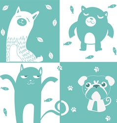 four animal cute symbol vector image vector image
