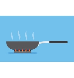 frying pan on fire vector image