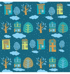 Little town in winter seamless background vector image vector image