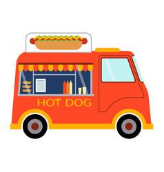 street food festival hot dog trailer vector image