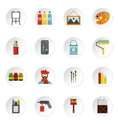 Artist studio icons set flat style vector