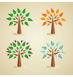 Colorful seasonal tree set vector image vector image