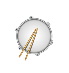 Drum and pair of wooden drumsticks vector