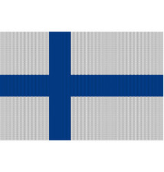 flag of finland on knitted woolen texture vector image vector image