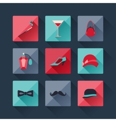 Set of retro fashion icons in flat design style vector image