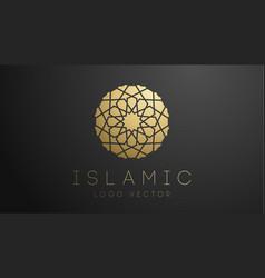3d gold islamic logo geometric islamic ornament vector