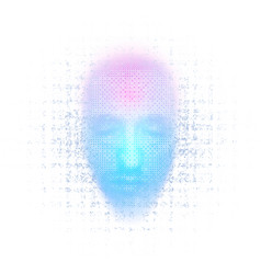 3d rendering of robot face with numbers on white vector image