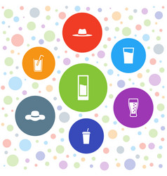 7 straw icons vector