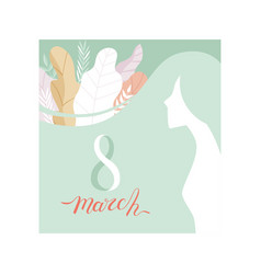 8 march greeting card in pastel colors party vector image