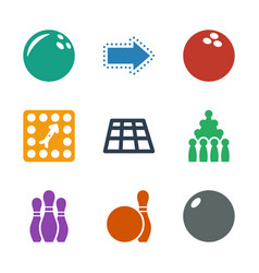 9 bowling icons vector