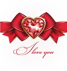 beautiful diamond brooch in the form of heart on V vector image