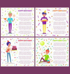 birthday greeting poster with men celebrating bday vector image