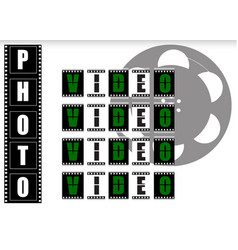 Black and green film on a white background vector