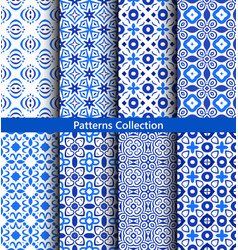 Blue floral backgrounds flower patterns vector