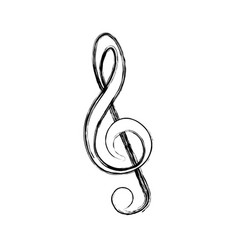 Blurred silhouette sign music treble clef vector