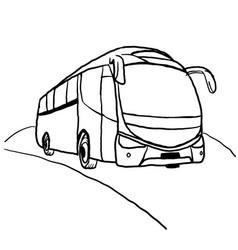 Bus line art drawing vector