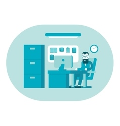 Business office Businessman at work Workplace vector