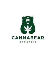 Caribbean cannabis bear logo icon vector