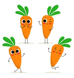Carrot Cute vegetable character set isolated on vector