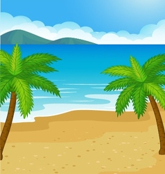 Cartoon Beach background with coconut tree vector image vector image