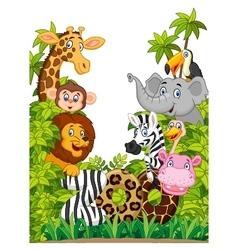 Cartoon collection happy animal of zoo vector