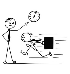 Cartoon of man running late for work and his boss vector